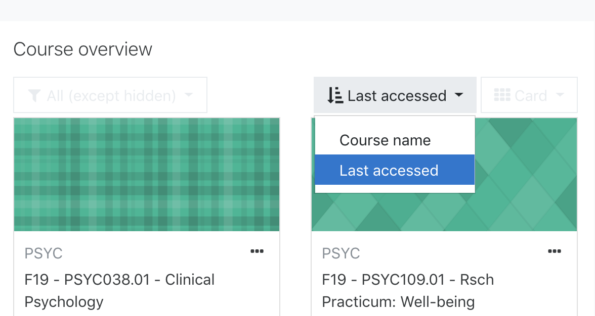 Screenshot of Moodle course overview with sorting options enabled