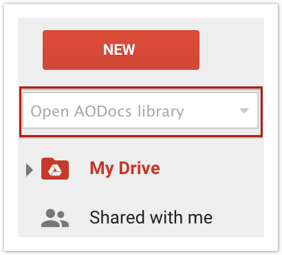 The AODocs Library Picker is located under the New button