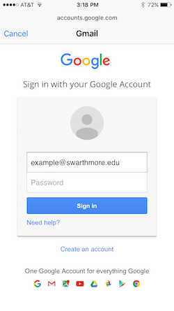 Choose the Google option to add your account