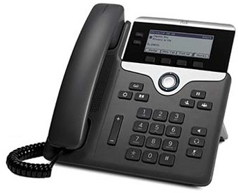 Cisco 7821, a 2-line phone used in classrooms, labs and dorms, able to call other campus phones, and the surrounding neighborhood.