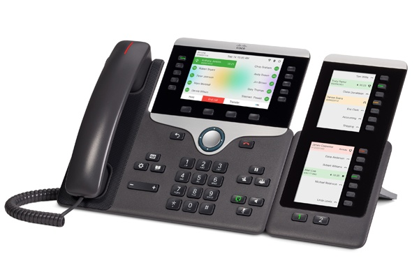 8851 Desk Phone with BKEM Expansion Module, is used in offices that need more than five lines. The expansion module allows for an additional 18 lines.